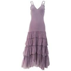 1990s John Galliano Lavender Silk Cocktail Dress