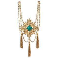 NAPIER 1970s Gold Fleur de Lis Baroque Medallion Pendant Chain Tassel Necklace