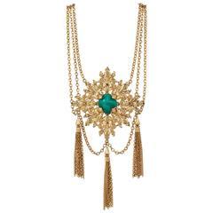 NAPIER 1970s Gold Fleur de Lis Baroque Medallion Pendant Chain Tassle Necklace