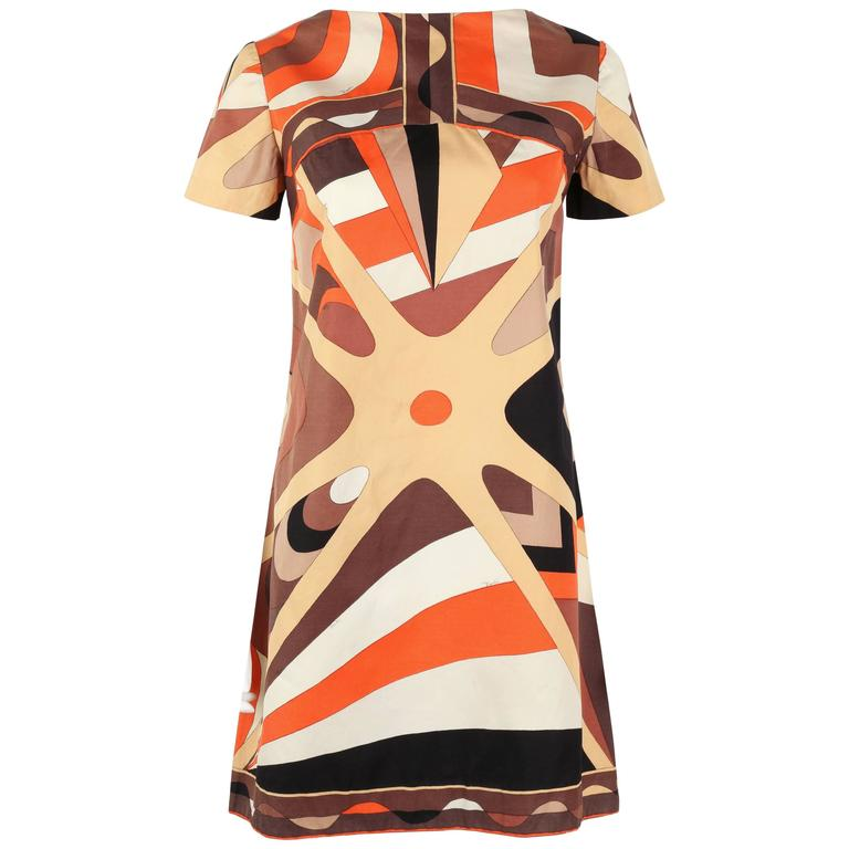 EMILIO PUCCI 1960s Brown Op Art Signature Print Short Sleeve Shift Dress Size 10 1