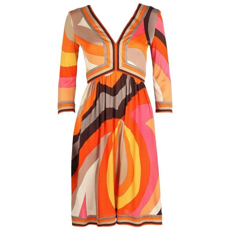 EMILIO PUCCI c.1960s Orange Abstract Signature Print Jersey V-Neck Dress Size 10 For Sale