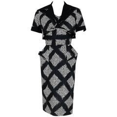 1940's Don Loper Black White Abstract Checkered Silk Shelf-Bust Dress & Bolero