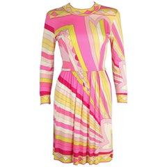 EMILIO PUCCI 1960s Pink Yellow Sunburst Signature Print Silk Jersey Dress Sz 10
