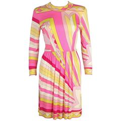 EMILIO PUCCI 1960s Pink Yellow Sunburst Signature Print Silk Jersey Dress Sz 10