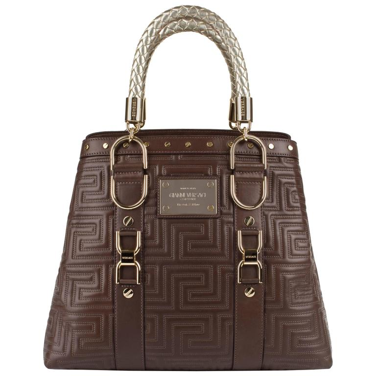 GIANNI VERSACE Couture Brown Quilted Leather Gold Hardware Handbag Purse NWT For Sale