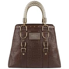GIANNI VERSACE Couture Brown Quilted Leather Gold Hardware Handbag Purse NWT