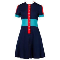 1960s Luba Rudenko Vintage 100% Wool Color Block Dress