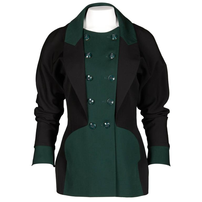 Karl Lagerfeld 1990s Vintage Green + Black Wool Military Jacket For Sale