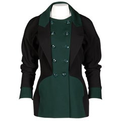 Karl Lagerfeld 1990s Vintage Green + Black Wool Military Jacket