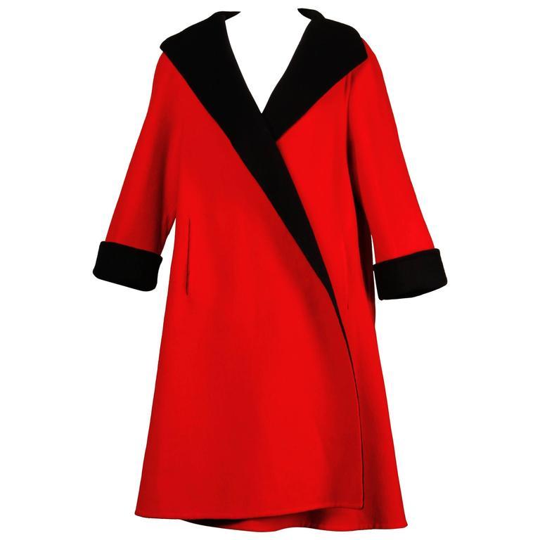 Pauline Trigere 1960s Red + Black Wool Swing Coat