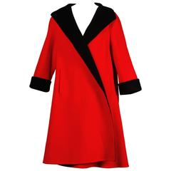 Pauline Trigere 1960s Vintage Red + Black Wool Swing Coat