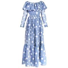 1960's Geoffrey Beene Blue & White Polka Dot Tiered Maxi Dress