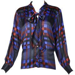 Vintage Yves Saint Laurent Plaid Silk Blouse w/Neck Ties & Original Tags
