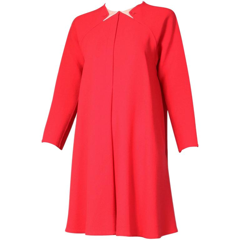 1990's Geoffrey Beene Red Wool Crepe Day Dress w/Signature Design Detail For Sale