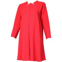 1990's Geoffrey Beene Red Wool Crepe Day Dress w/Signature Design Detail