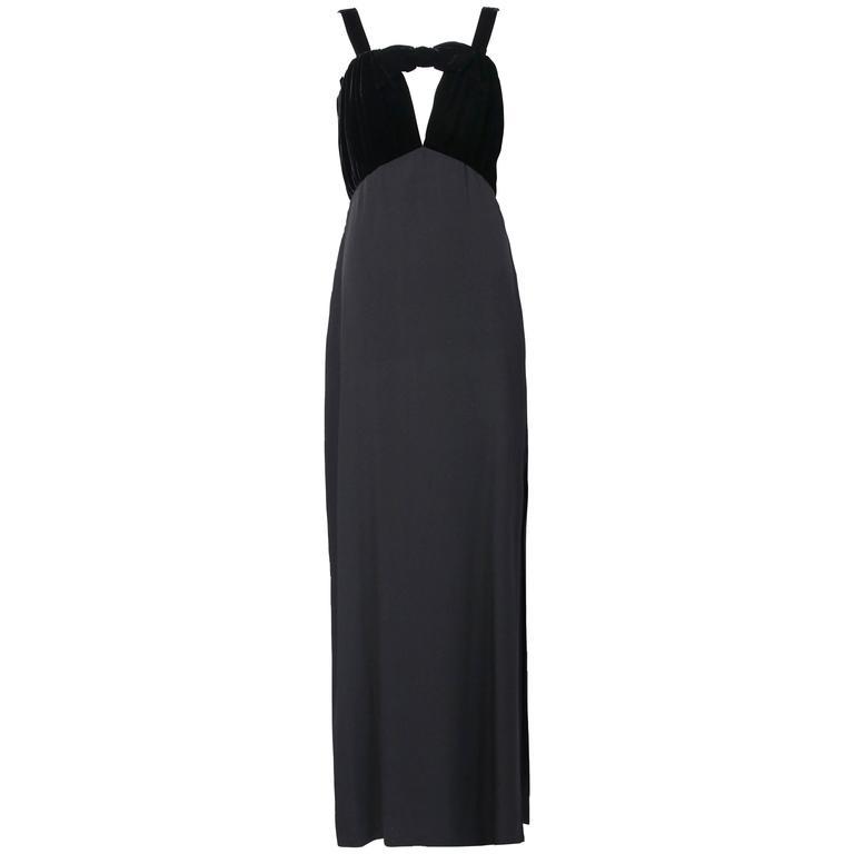 1989 Yves Saint Laurent Silk & Velvet Evening Gown w/Keyhole Opening at Neck