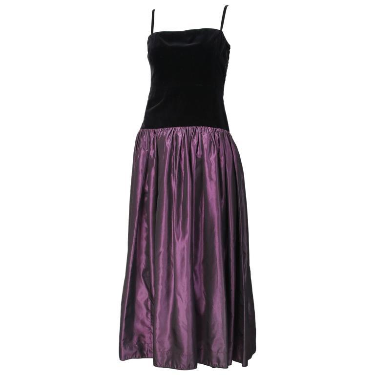 f249c9c3a63 Vintage Yves Saint Laurent YSL Velvet   Silk Taffeta Evening Gown For Sale