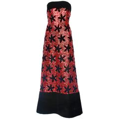Vintage Arnold Scaasi Black Velvet Evening Gown w/Red Sequin Floral Pattern