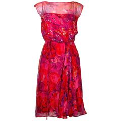 Ruth McCulloch Vintage 1960s Floral Print Silk Chiffon Sequin Cocktail Dress