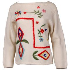 1960s Vintage 100% Wool Hand Embroidered Knit Sweater Top
