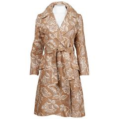 Lazarus 1970s Vintage Chenille Woven Tapestry Trench Coat