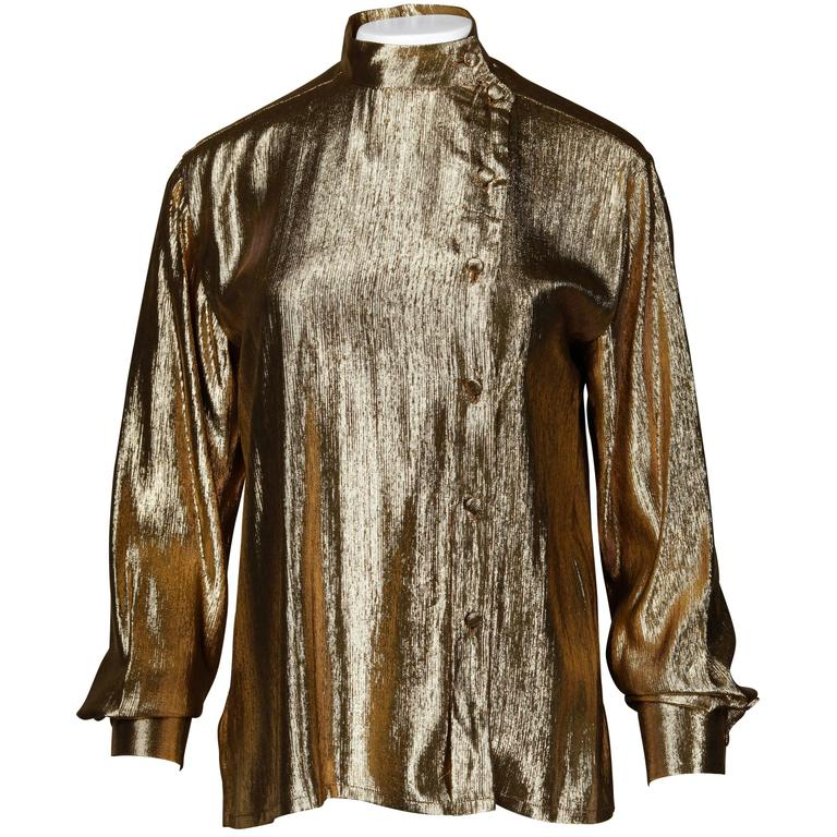 Christian Dior Vintage 1980s Metallic Gold Lamé Button Up Blouse Top For Sale
