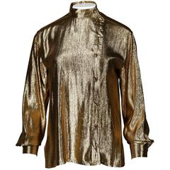 Christian Dior Vintage 1980s Metallic Gold Lamé Button Up Blouse Top