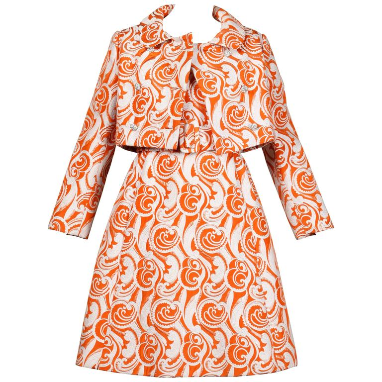 Teal Traina 1960 Vintage Orange Brocade Jacket, Belt + Dress 3-Piece Ensemble
