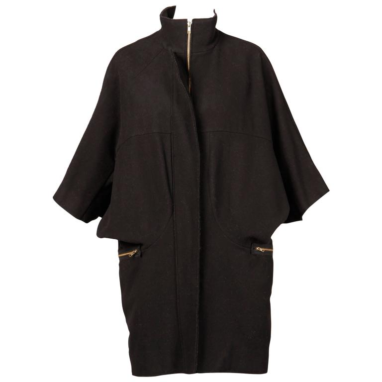 Marni Black Wool Cape Coat with Dolman Sleeves