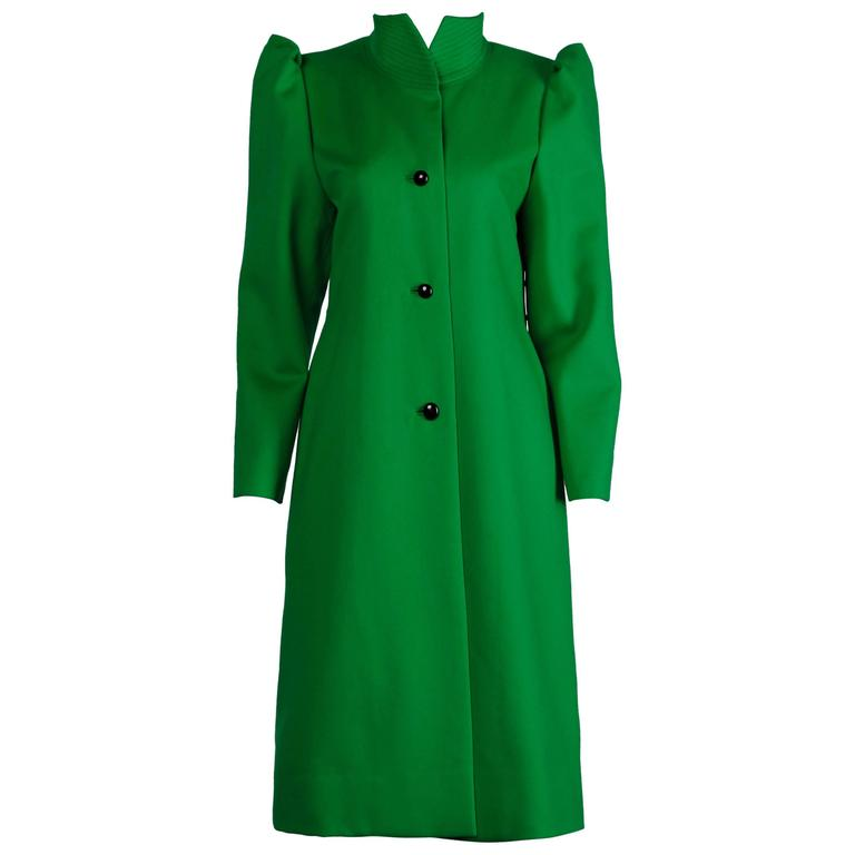 Galanos 1980s Vintage Avant Garde Kelly Green Wool Coat with Bold Shoulders 1