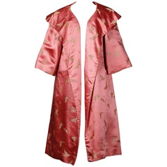Dynasty Vintage 1960s Pink Silk Satin Swing Coat with Gold Butterflies
