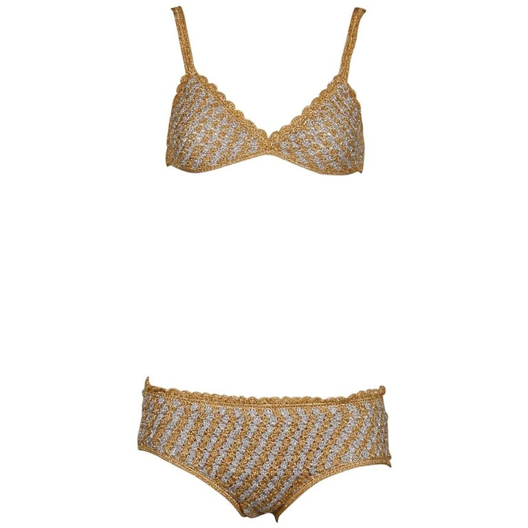 1970s Vintage Moggie Metallic Gold + Silver Crochet Bikini 2-Piece Swimsuit