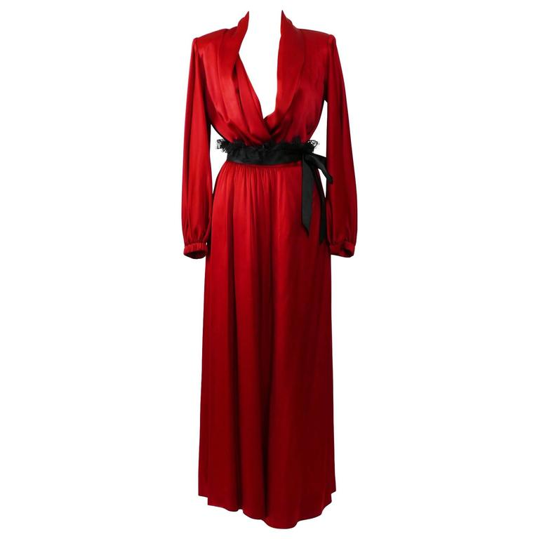 1980s YVES SAINT LAURENT Rive Gauche Red Satin Evening Dress 1