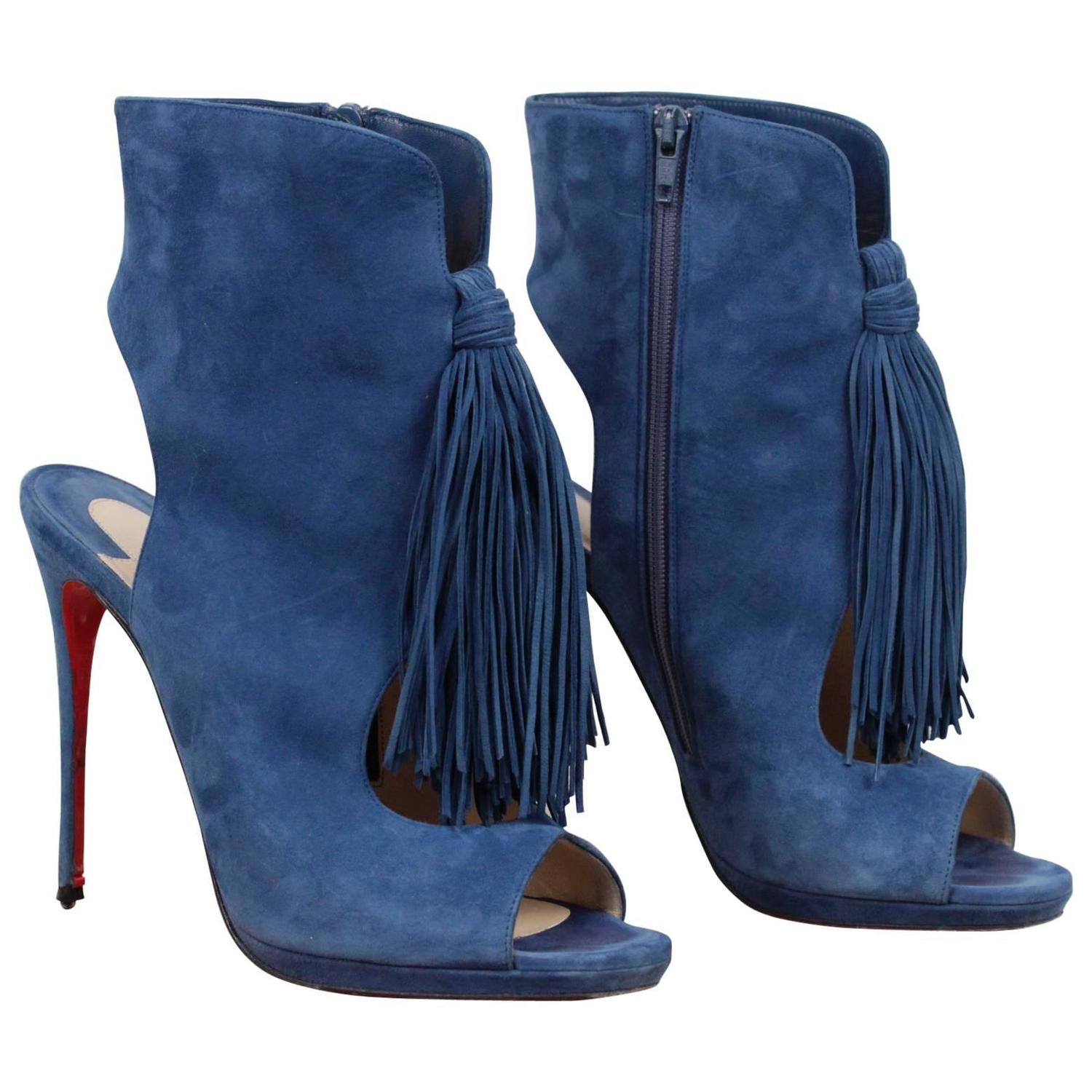 sneakers for cheap 433b6 bf84c CHRISTIAN LOUBOUTIN Blue Suede OTOKA Tassel ANKLE BOOTS Open Toe SIZE 40