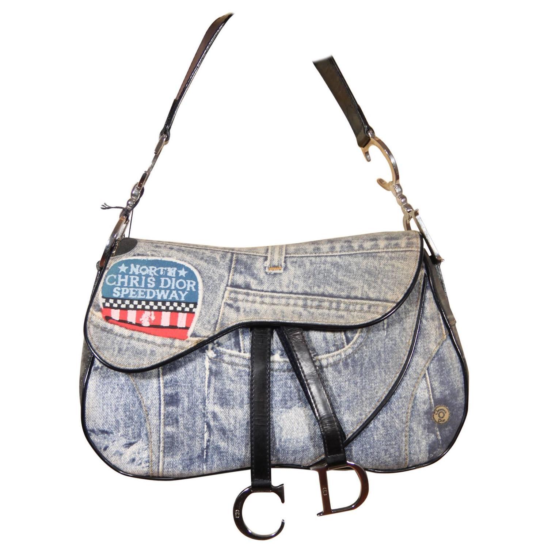 Dior Denim Print Sdway Canvas Double Saddle Bag Handbag For At 1stdibs