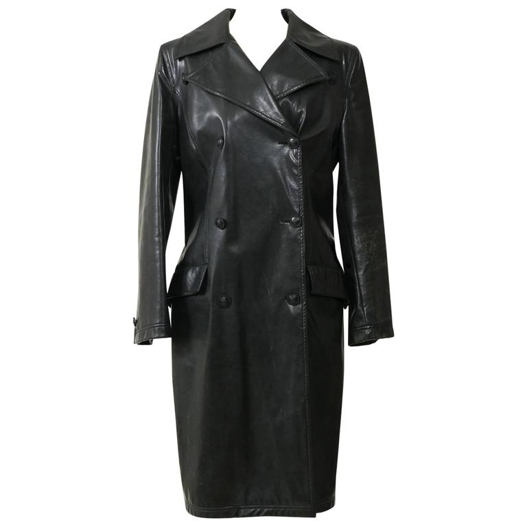 1990s GIANNI VERSACE Black Leather Trench Coat