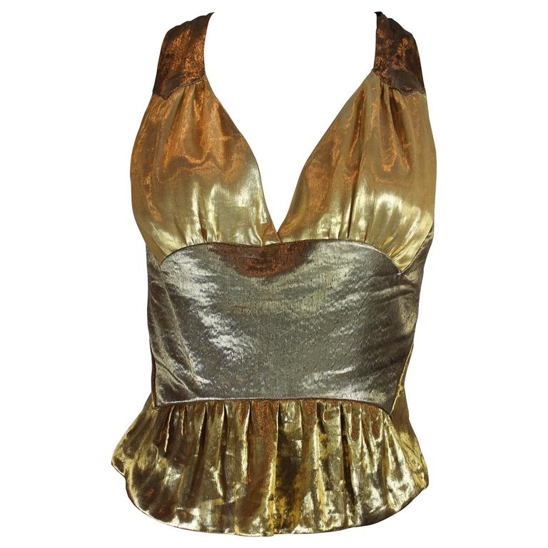 Louis Vuitton Gold Lamé Halter Top For Sale