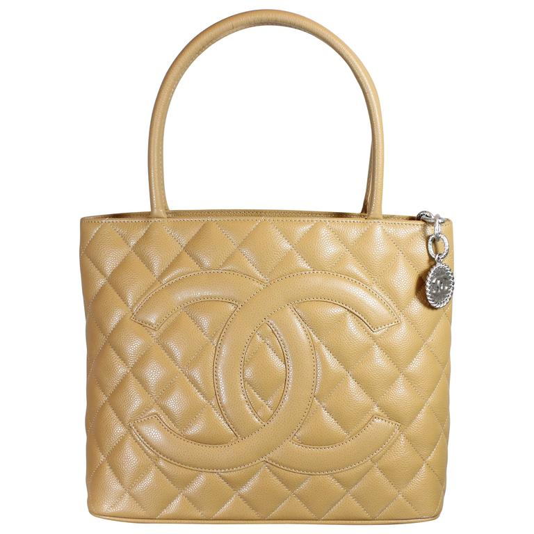 49c76d8cf7ff Brand New With Tags - Chanel 2000 Beige Classic Medallion Tote Bag For Sale