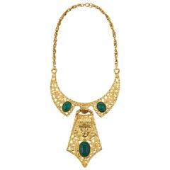 HATTIE CARNEGIE 1960s Gold Green Egyptian Pharaoh Scarab Collar Bib Necklace