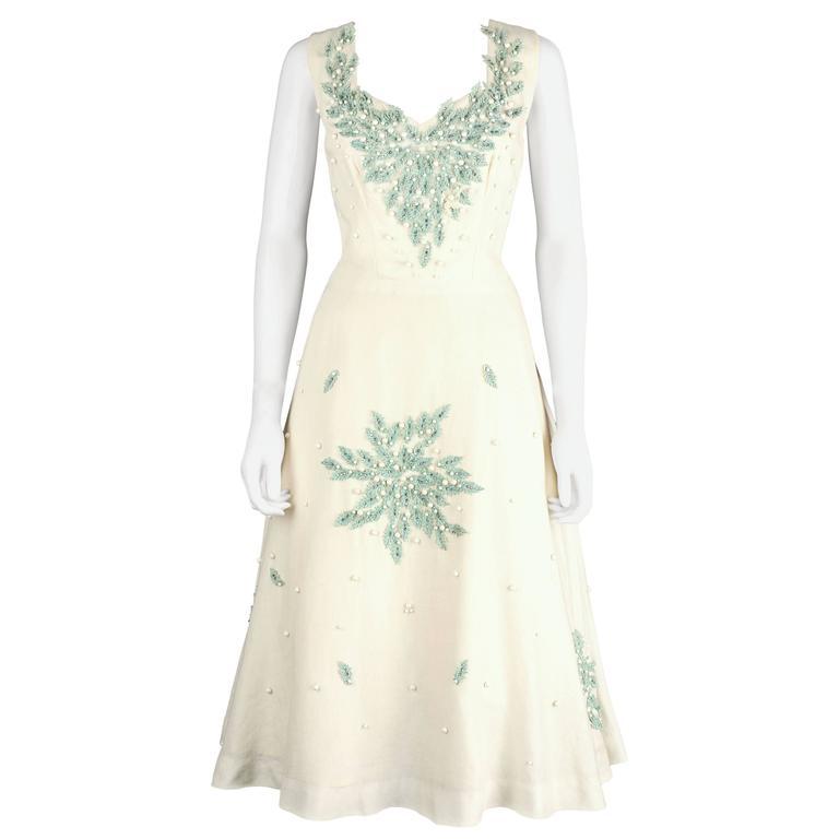 MILTON SAUNDERS 1950s White Linen Rhinestone Embellsihed Leaves Party Dress
