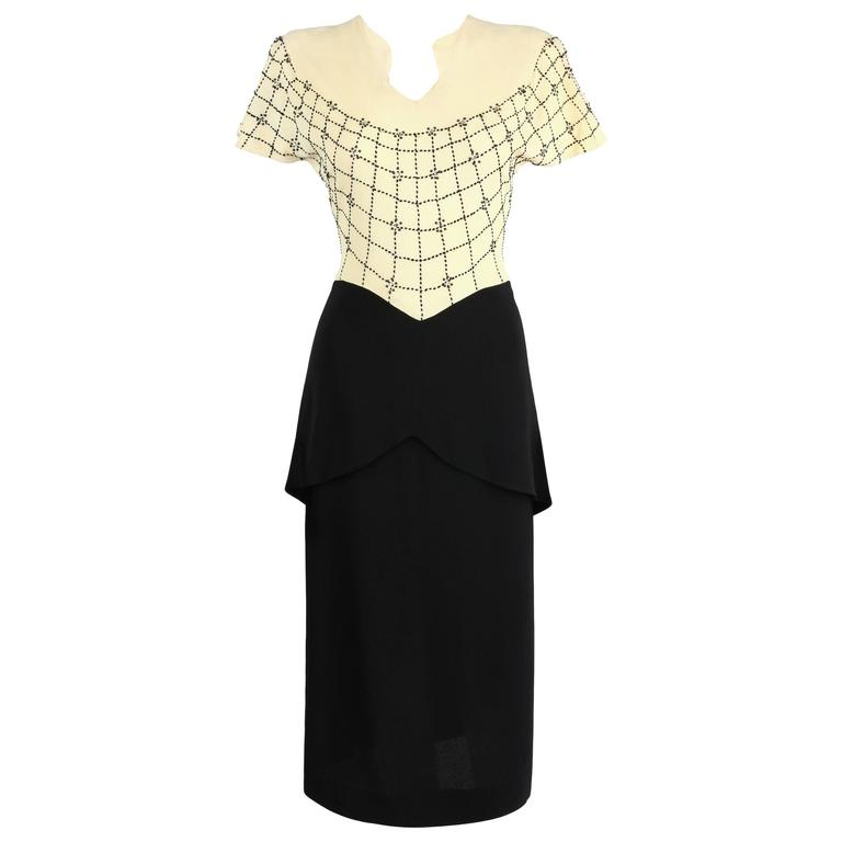 PARAMOUNT JUNIOR 1940s Black Ivory Spider Web Crepe Peplum Bow Cocktail Dress 1