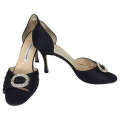 Manolo Blahnik black silk rhinestone buckle open toe d'orsay high heel pumps 40M