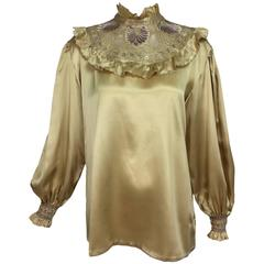 Vintage Pierre Cardin intricately embroidered gold silk satin blouse 1979