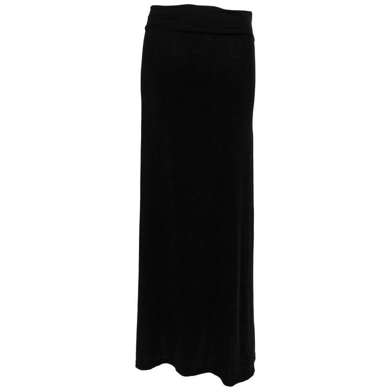 Vintage Issey Miyake silky black stretch fold over waist A line maxi skirt 1990s