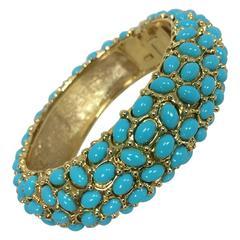 Kenneth Lane turquoise cabochon encrusted gold clamper bracelet