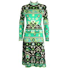 LEONARD PARIS 1960s Jade Green Tribal Floral Print Cashmere Jersey Knit Dress