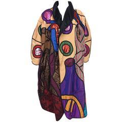 Vintage La Coleccion Judith Roberts Indigenous tribes applique coat 1980s