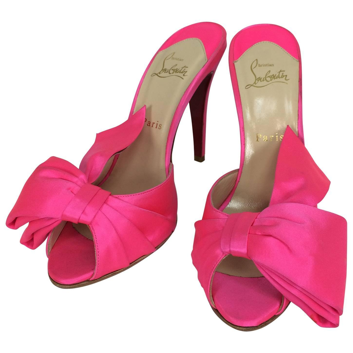 Christian Louboutin hot pink silk huge bow front high heel mules ...
