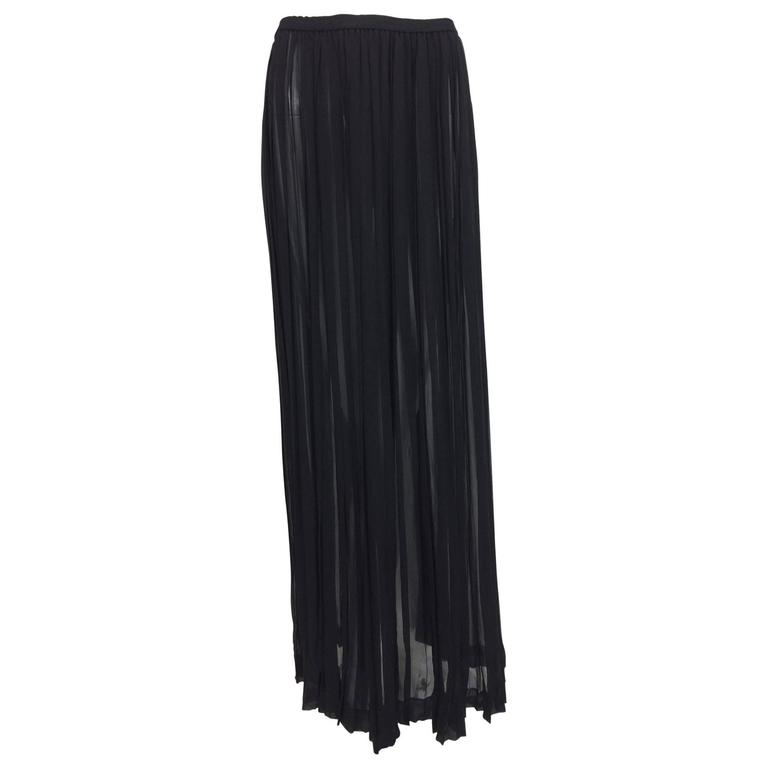 Vintage Yves St Laurent knife pleated sheer silk chiffon maxi skirt 1970s