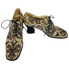 Vintage Kenneth Cole tapestry brocade Louis heel lace up shoes 9M 1990s